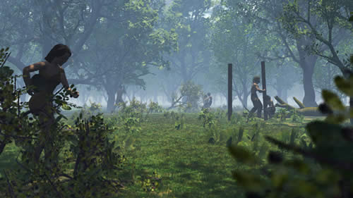 People working to extend a clearing in the woods, during the Neolithic.