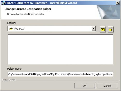 Change Current Destination Folder Dialog box - before