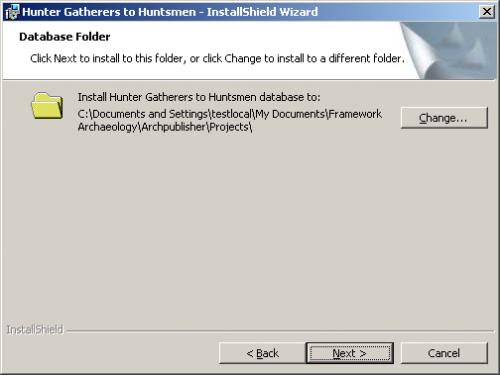 Database folder screen in the Installshield Wizard