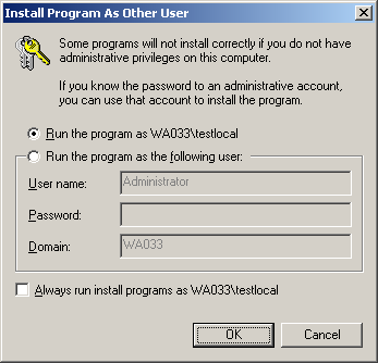 Power User privileges Run As Dialog
