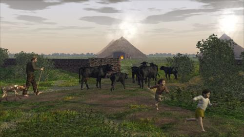 A farmer herds his cows into the settlement, with roundhouses in the background