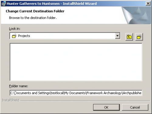Change Current Destination Folder Dialog box - before