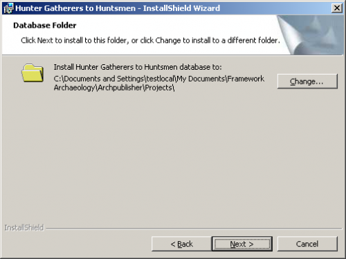 Database folder screen in the Installshield Wizard