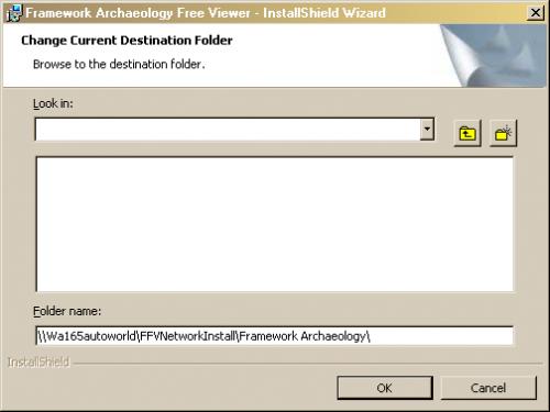 Change Current Destination Folder dialog box