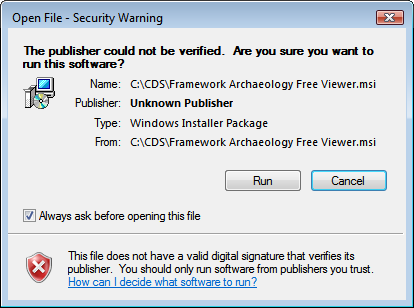Windows Vista Security Warning